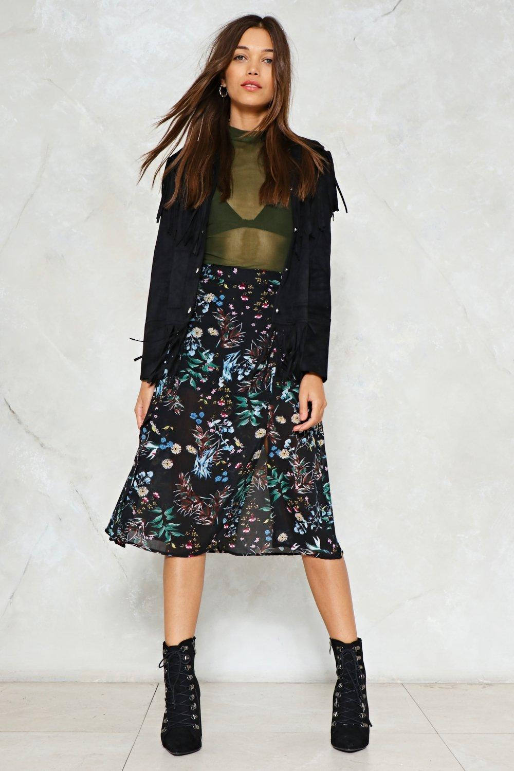 51d8e23aa7 Let's Split Up Floral Midi Skirt | Shop Clothes at Nasty Gal!