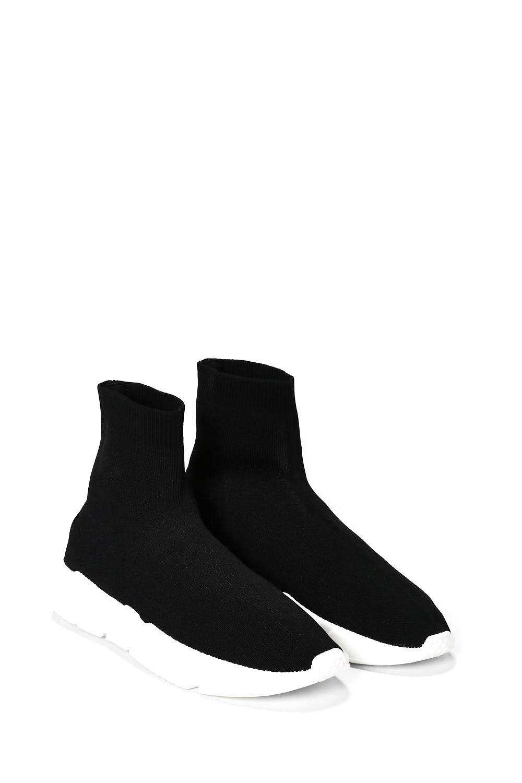 b00deccad1a Womens Black Jump the Gun Sock Sneaker.