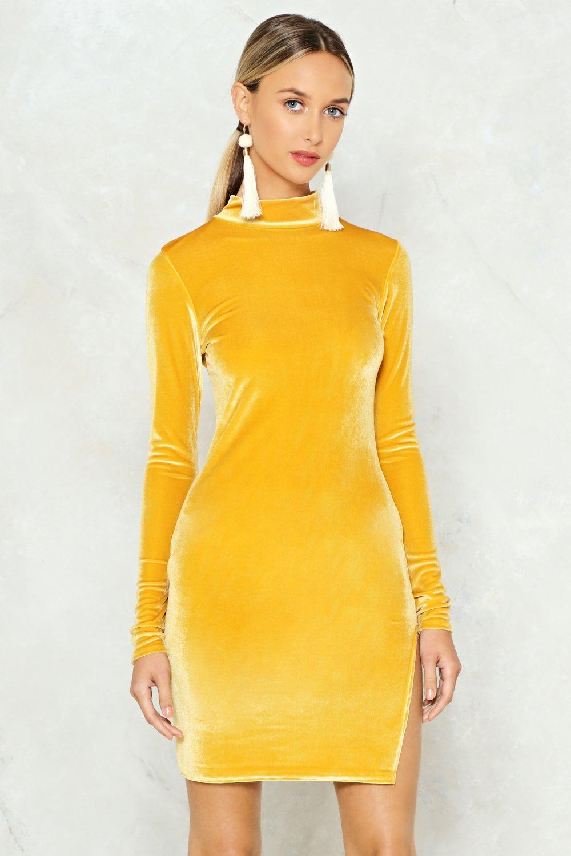 Slit Second Velvet Dress Nasty Gal