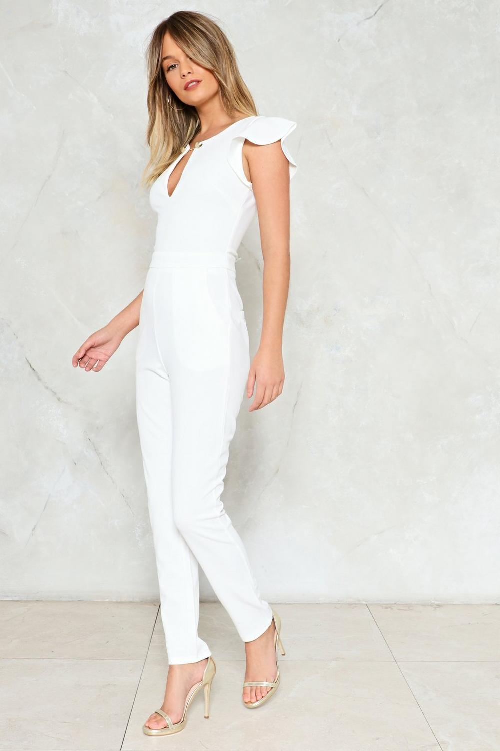 0ec1749c42 Push too Bar Ruffle Jumpsuit. Hover to zoom