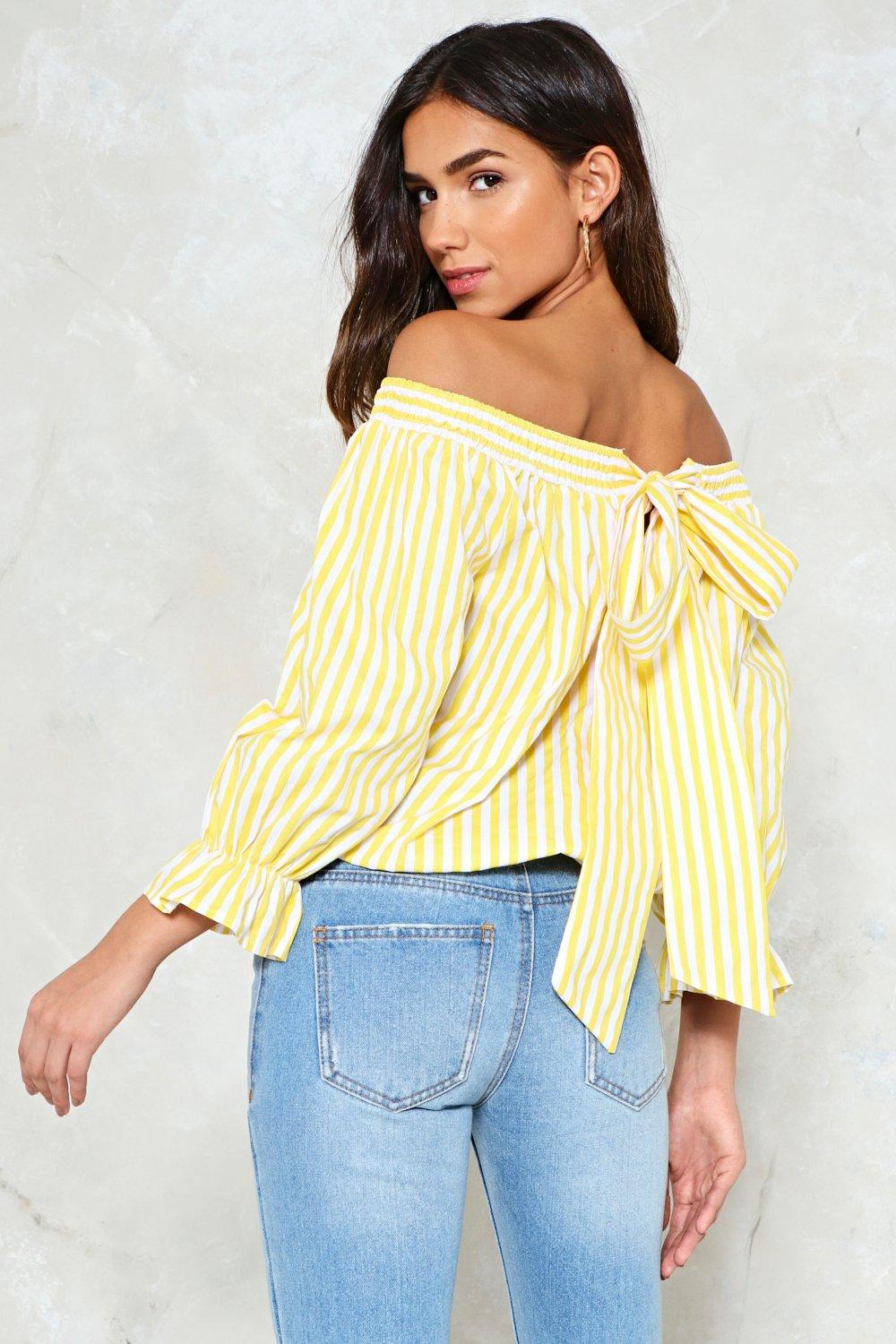 c1937065b94ba Serves  Em Stripe Off-the-Shoulder Top