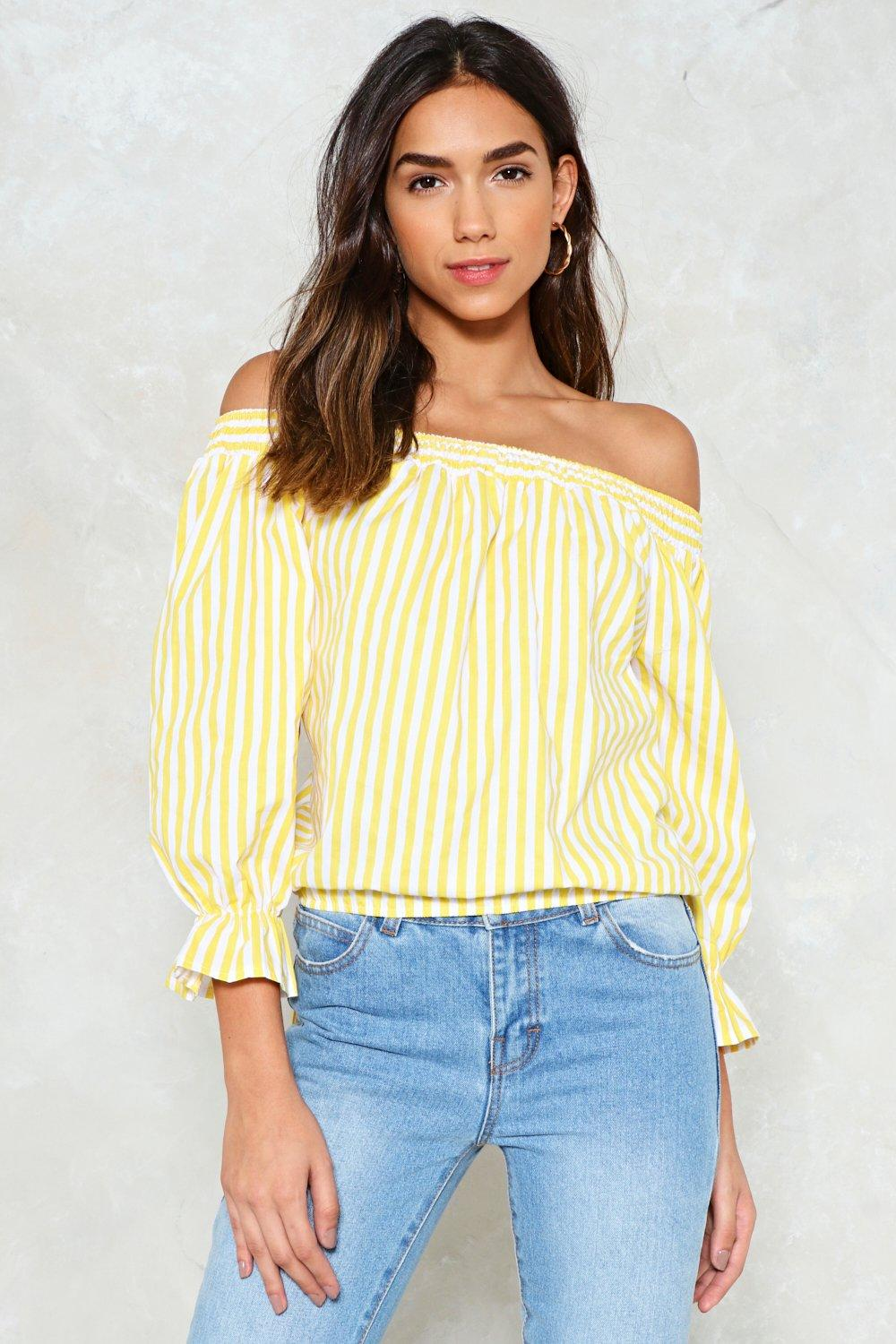 c7e90a80f5e3d ... Stripe Off-the-Shoulder Top. Hover to zoom