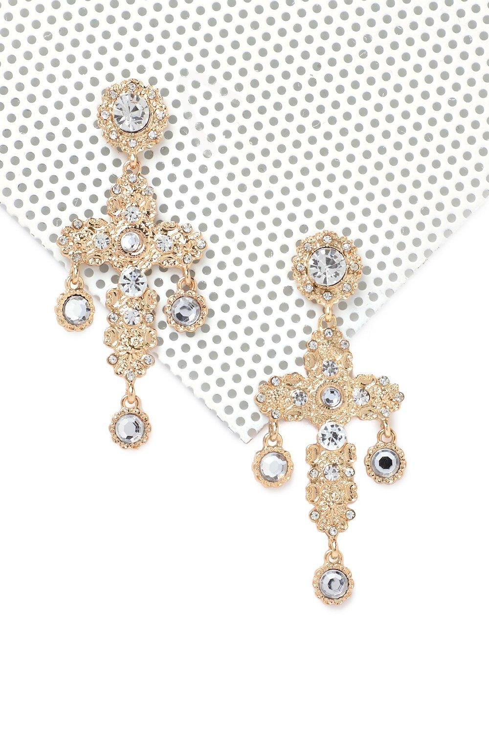 earrings crystal gold glitzy diamante statement n product glamorous