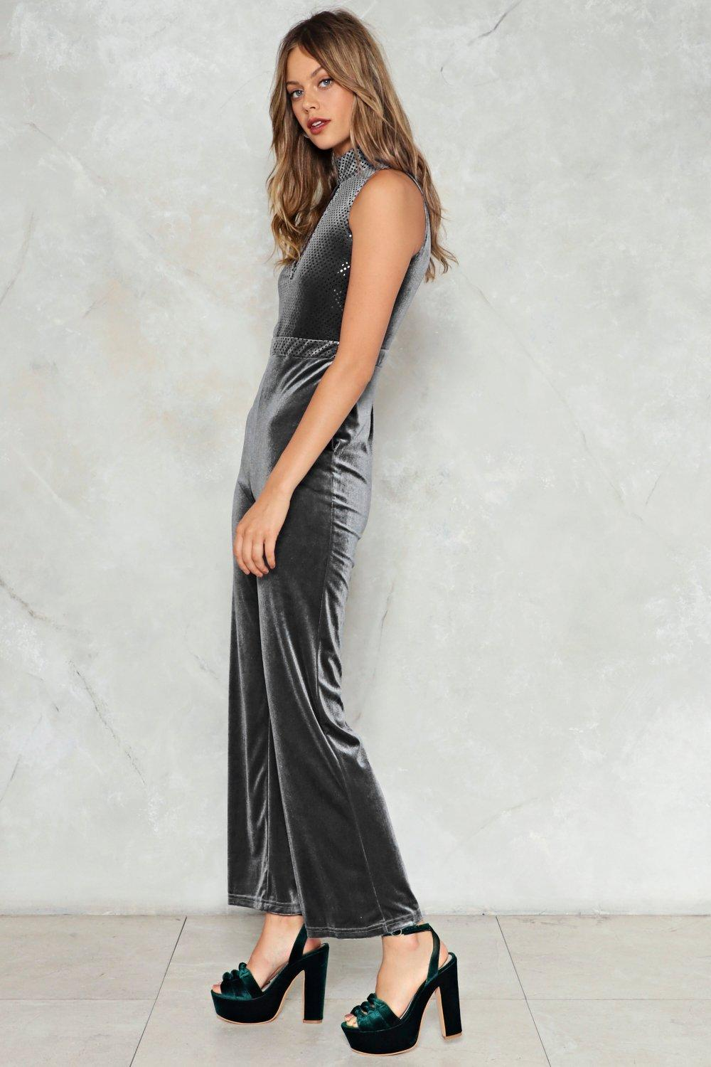 7208321631a Keep in Touch Velvet Jumpsuit. Hover to zoom