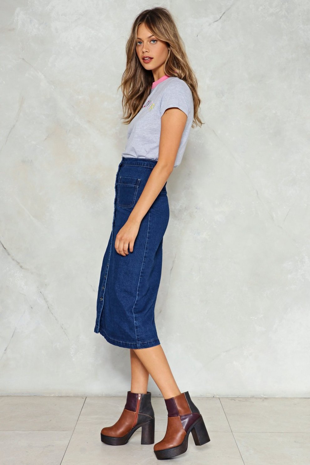 9e18f1392bb3f Get Down to It Denim Midi Skirt | Shop Clothes at Nasty Gal!