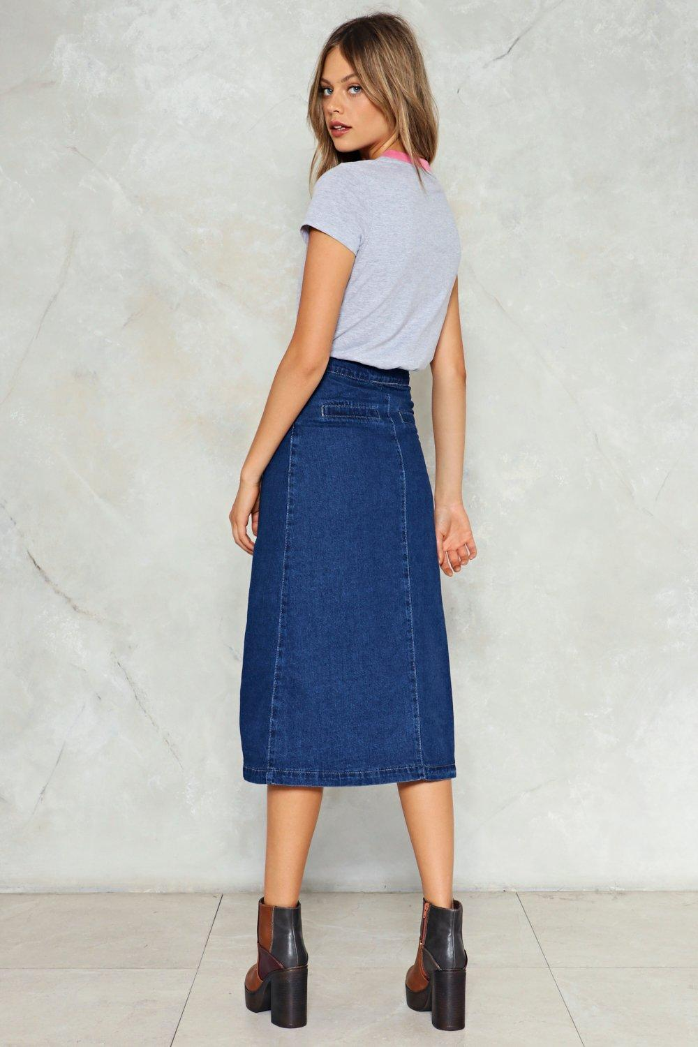 bd7dda3149ee Get Down to It Denim Midi Skirt | Shop Clothes at Nasty Gal!