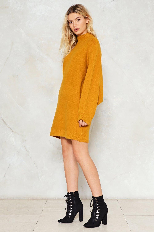 16ea24f3c95 Womens Mustard Knit the Mark Oversized Dress