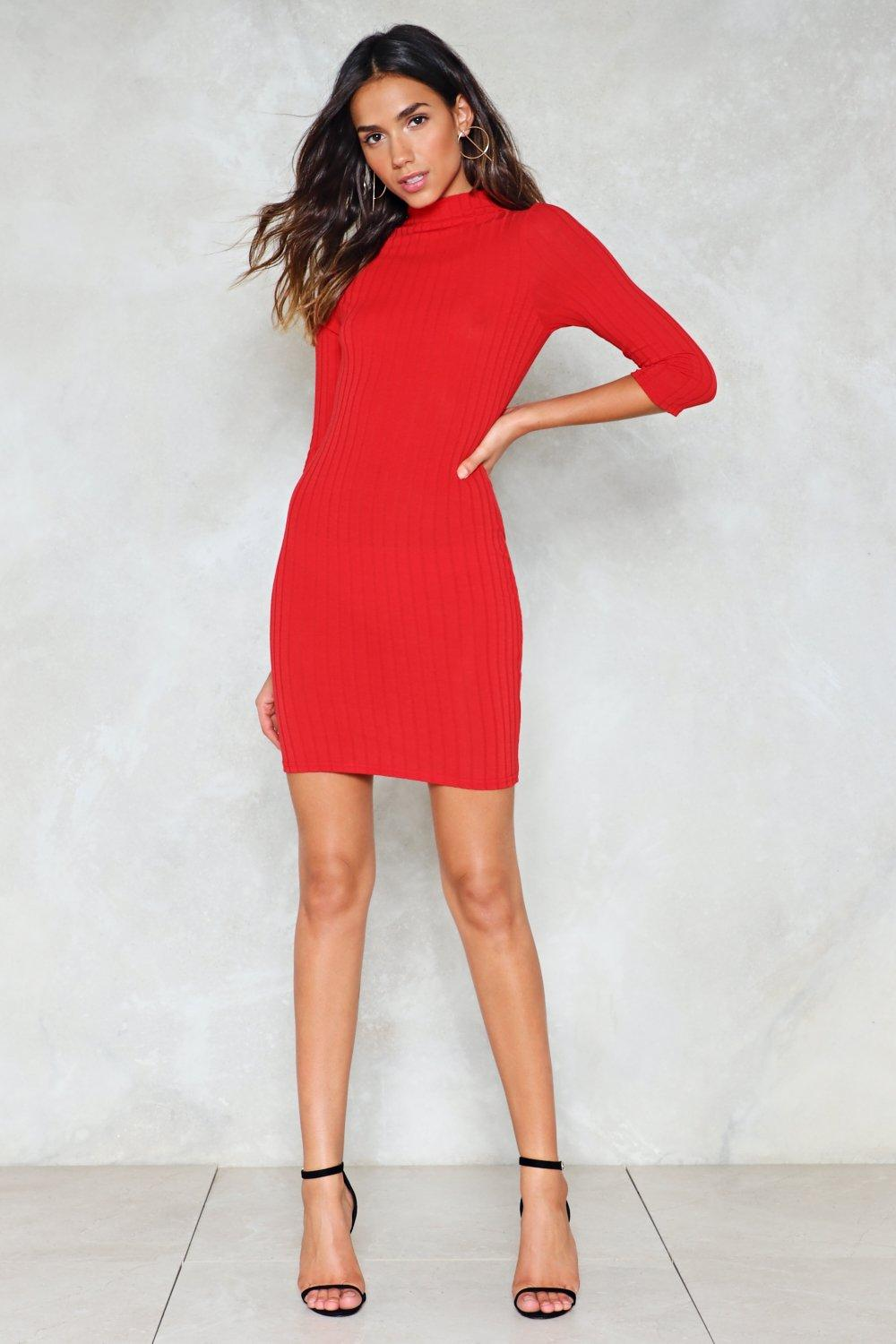 58fc88b5818 Womens Red Hot Line Ribbed Dress.