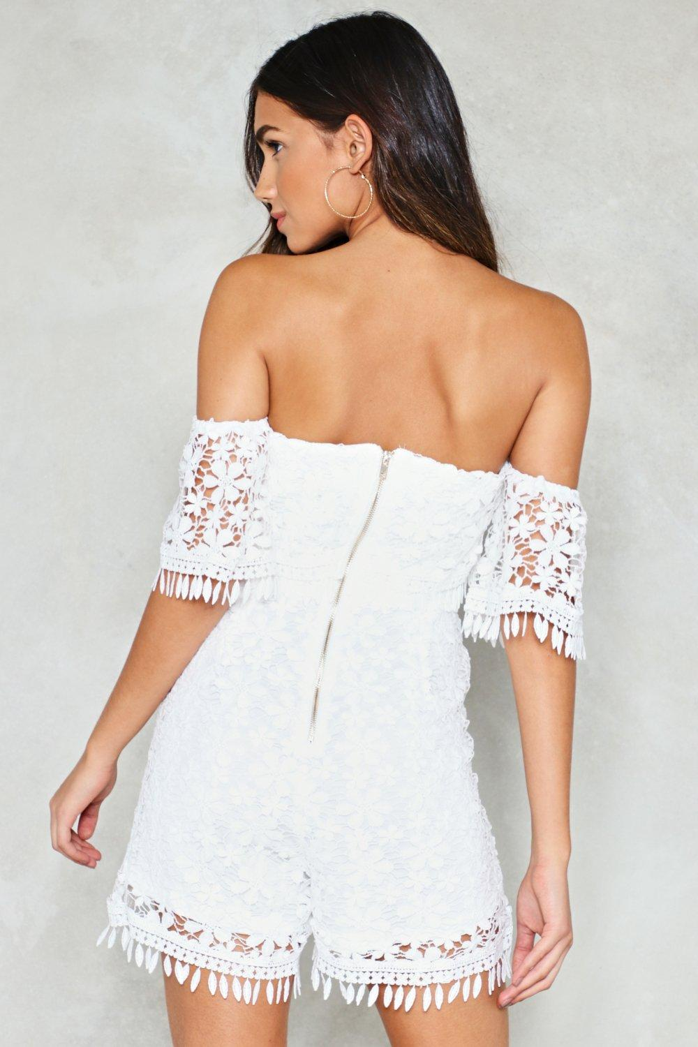 a176f2f27378 Gimme Some Lace Off-the-Shoulder Romper