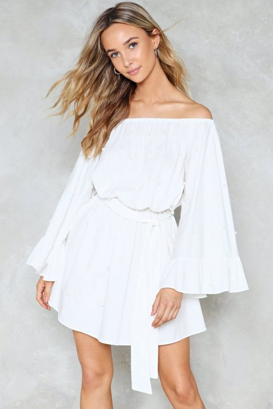 Friday I'm In Love Off The Shoulder Dress by Nasty Gal