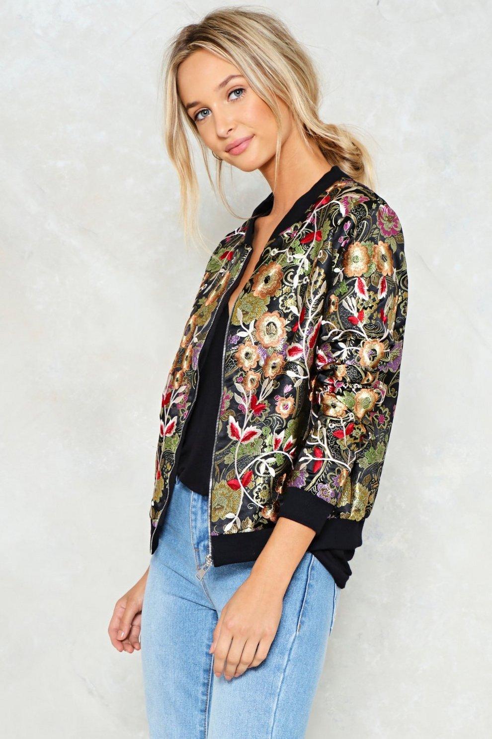 121e6fbc615 Wild Summer Nights Floral Bomber Jacket
