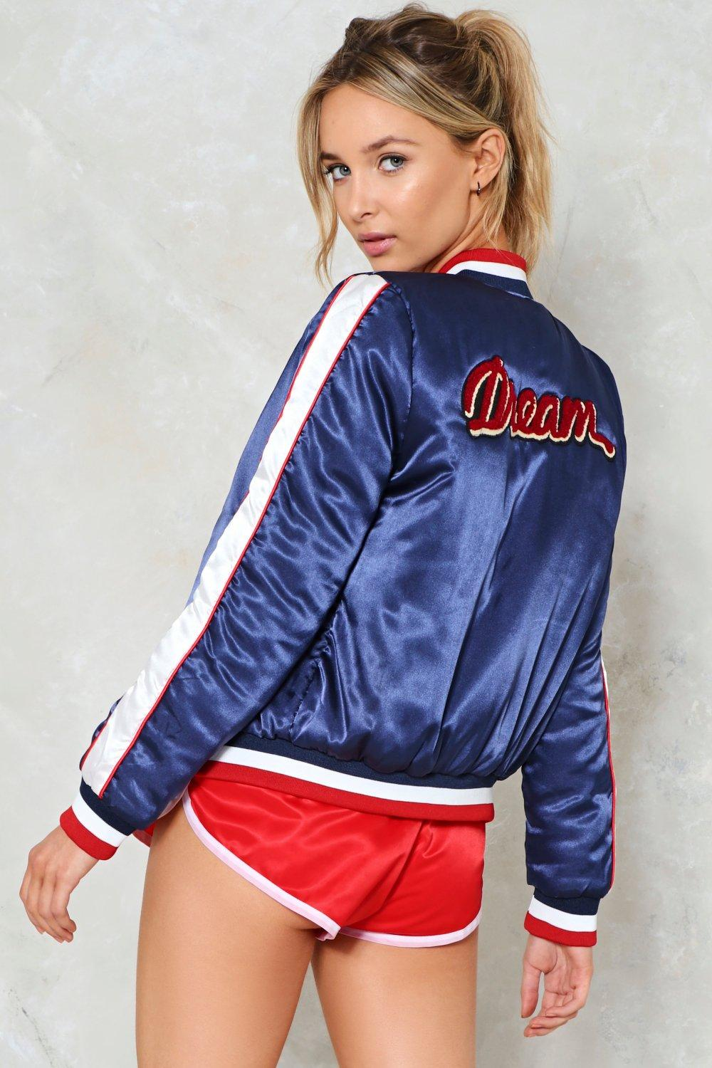 Pleasant Dreams Satin Baseball Jacket