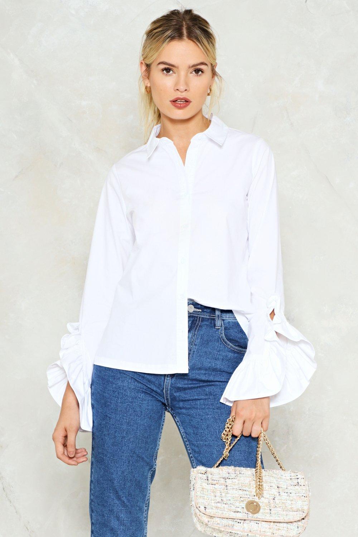 d1b6ae69947 Womens White At a Loose End Ruffle Shirt