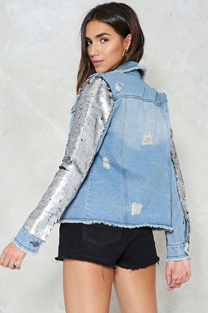 amazing price famous brand coupon code Find What You're Sequin Denim Jacket | Nasty Gal