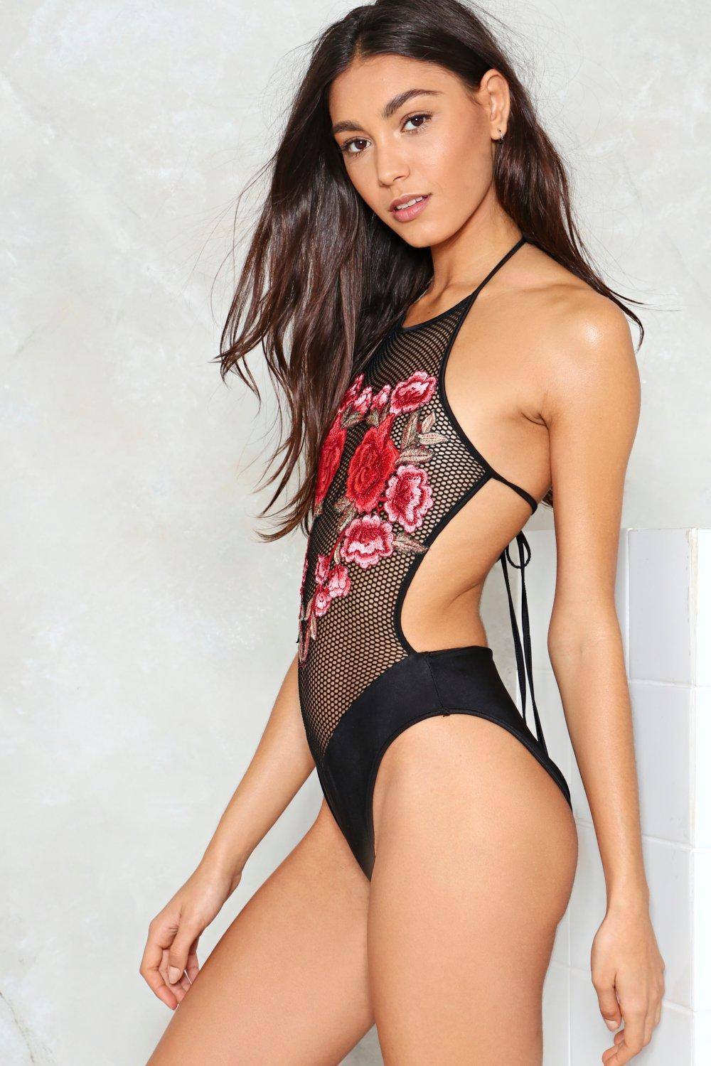 Sheer By Nature Embroidered Swimsuit Shop Clothes At Nasty Gal