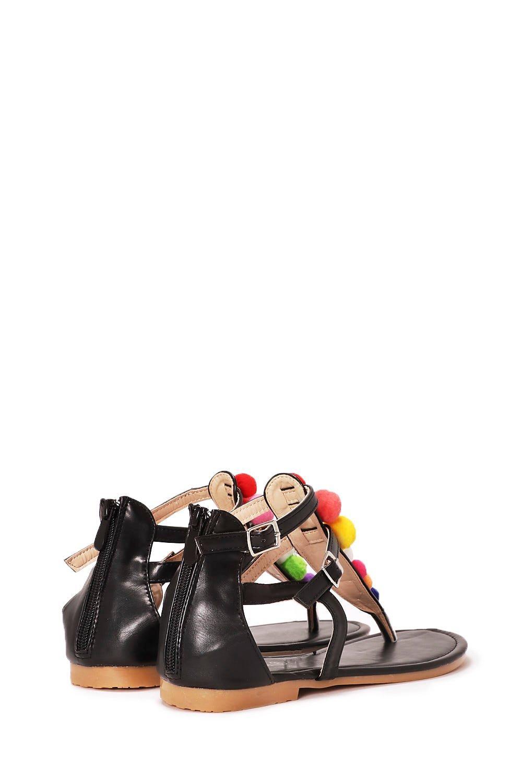 0261512ba008 Womens Black Have a Ball Pom Pom Sandal