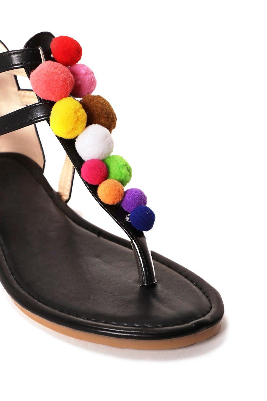 a19c1609cc83 Womens Black Have a Ball Pom Pom Sandal.