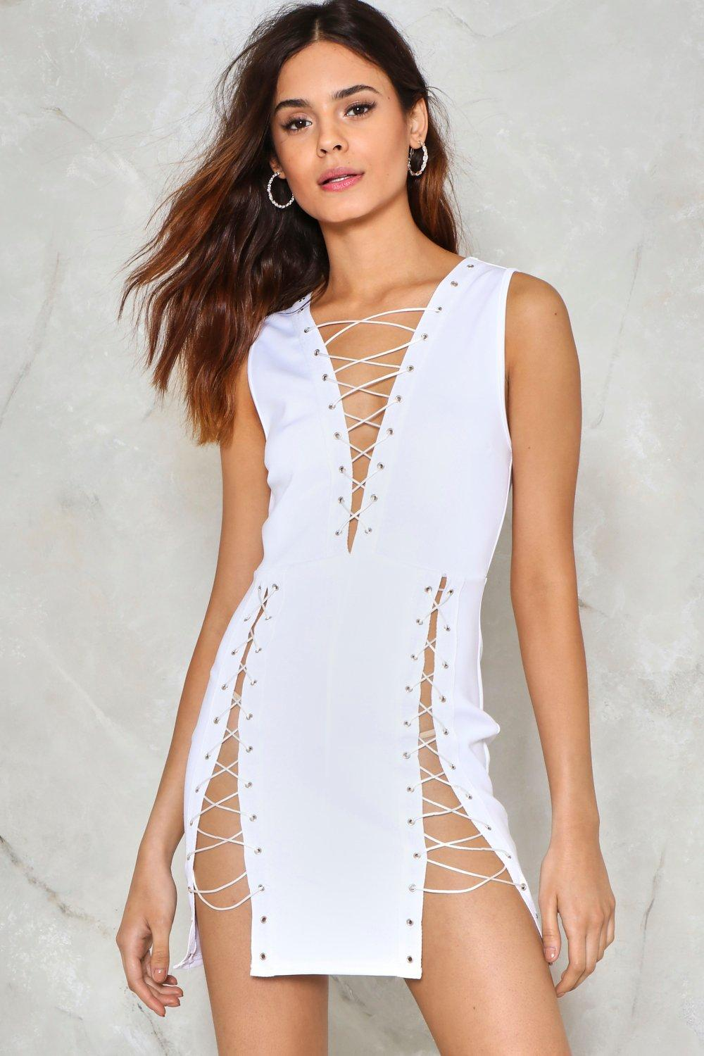 89b1efbe596 Womens White Bad Reputation Lace-Up Dress