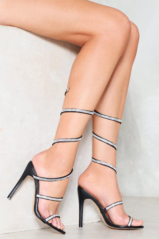 bad21c8d7fda Womens Black Bring to a Coil Diamante Heel