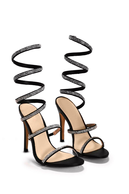 abd964c0dc10 Womens Black Bring to a Coil Diamante Heel.