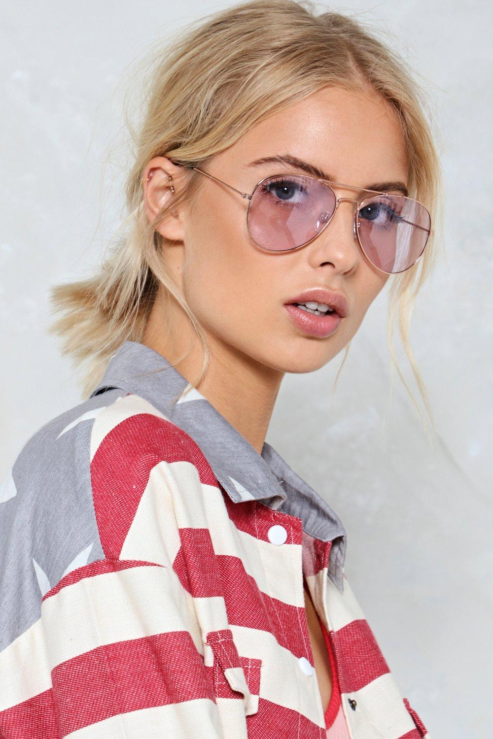 1dc282205f662 Womens Rose gold Stayin  Alive Tinted Aviator Glasses
