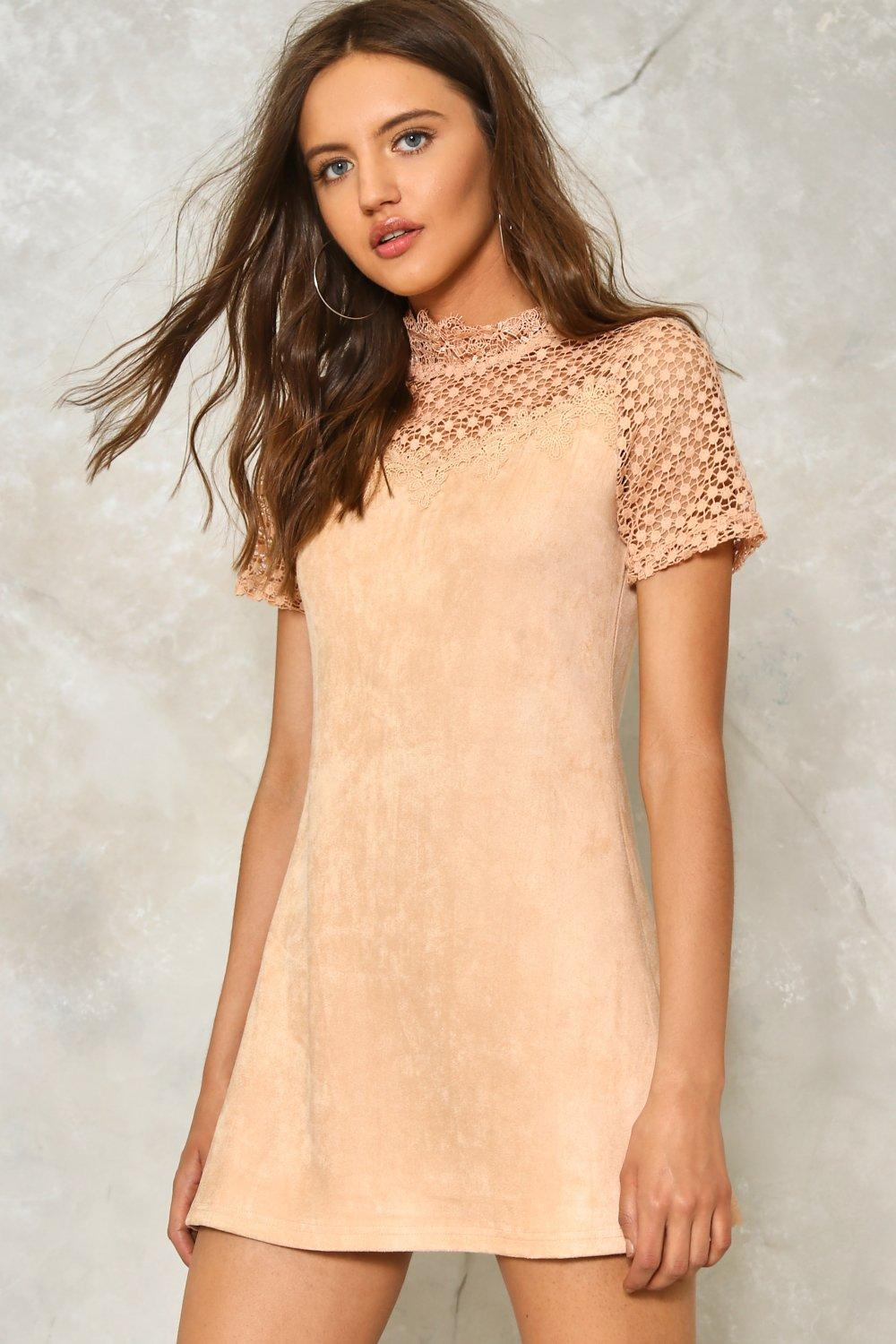 f40cb9380b1 Womens Blush One Touch Faux Suede Dress