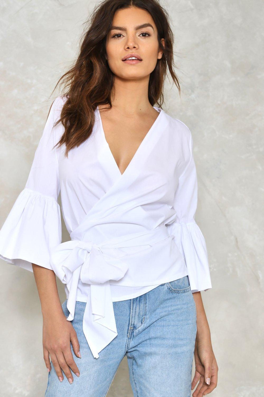 Brand New Wrap White Blouse Ll16 Advancedmassagebysara