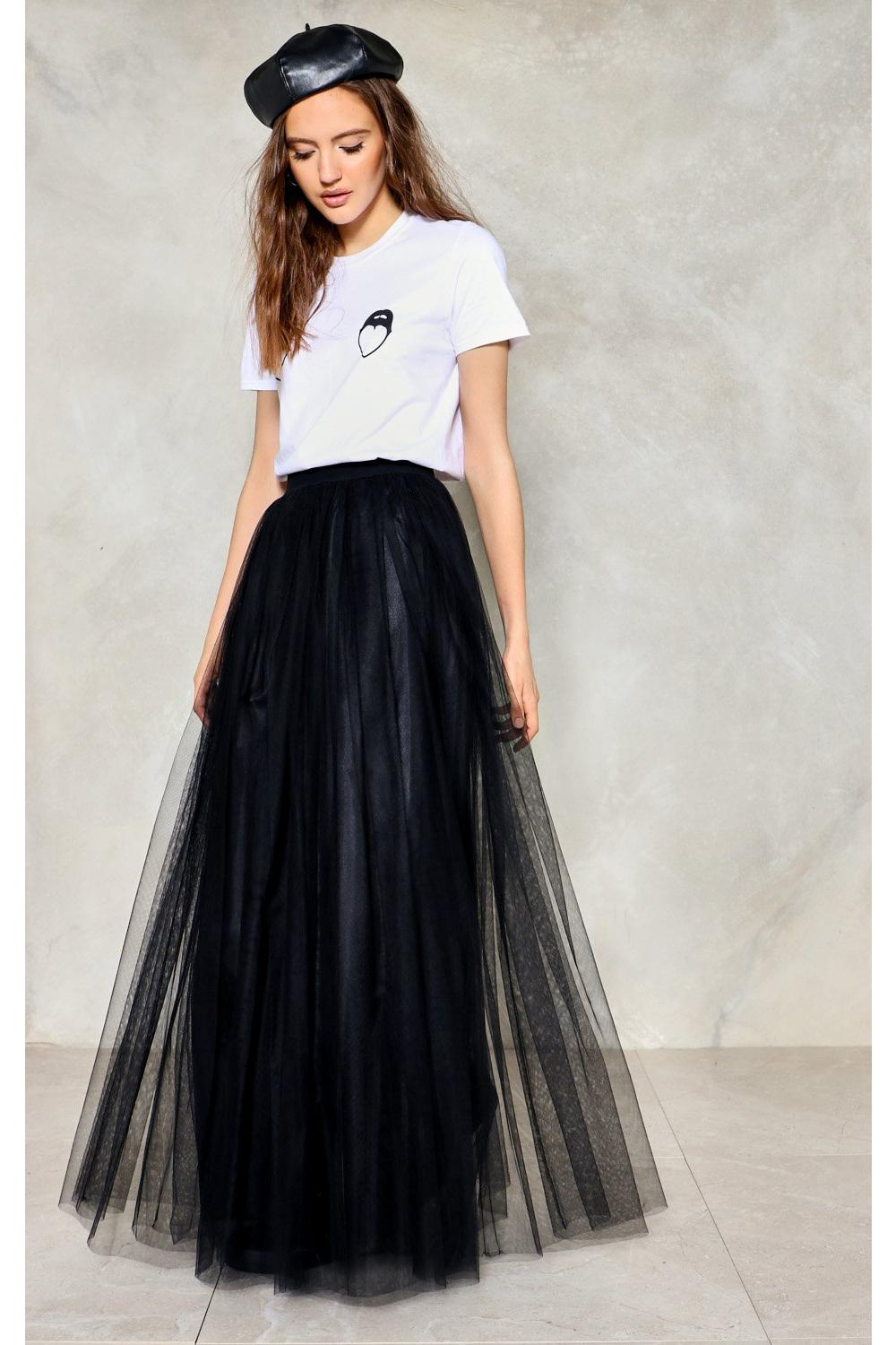 cc25bd8e22ab Hover to zoom · Womens Black Tulle For You Maxi Skirt