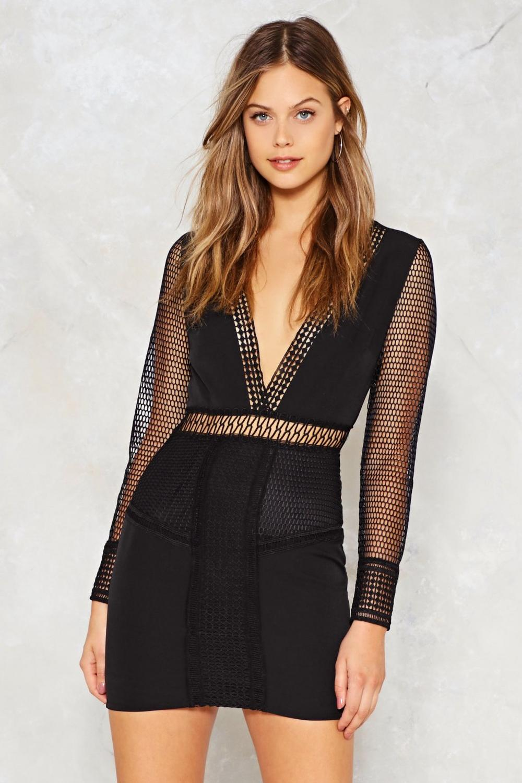 28c640936bb Womens Black Let s Net to It Fishnet Dress