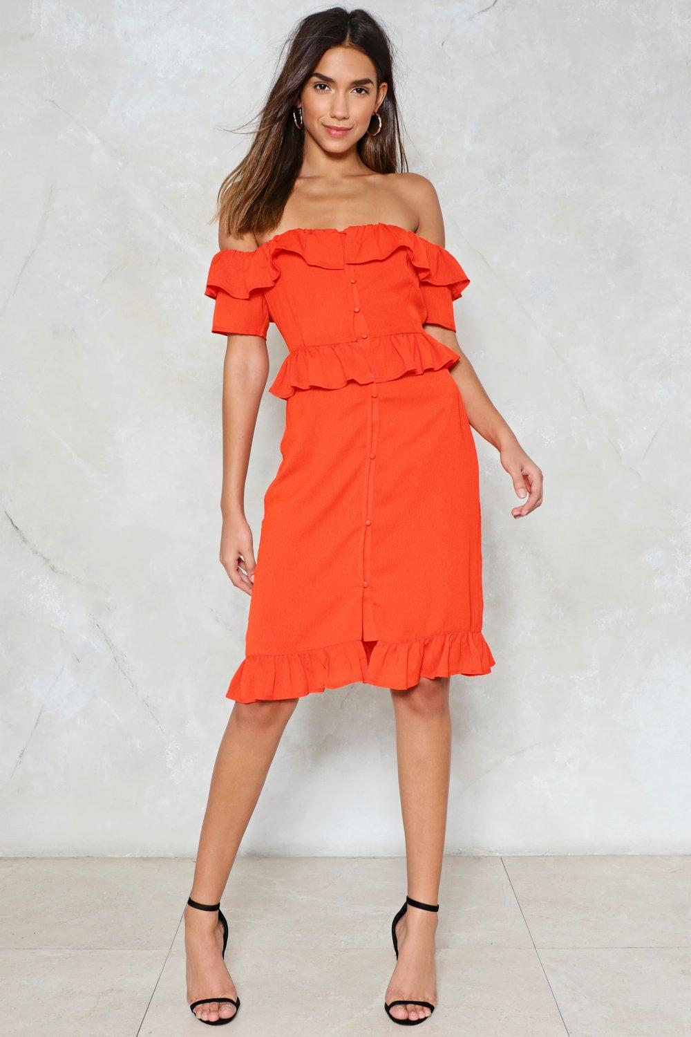 e60066726305 Womens Orange Out to Sea Off-the-Shoulder Dress. Hover to zoom