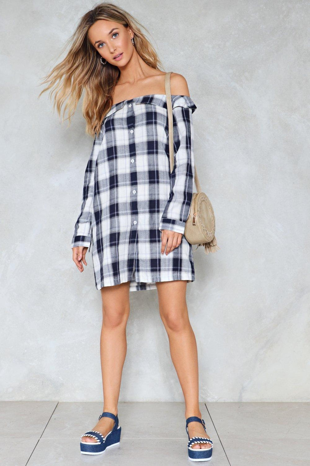 391ed28caa2f Womens Multi Plaid Influence Off-the-Shoulder Shirt Dress. Hover to zoom