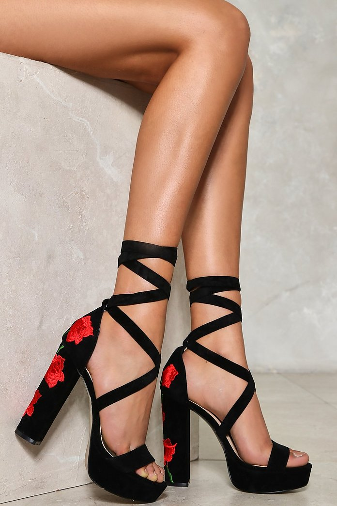 Rose to Power Embroidered Heel | Shop Clothes at Nasty Gal!