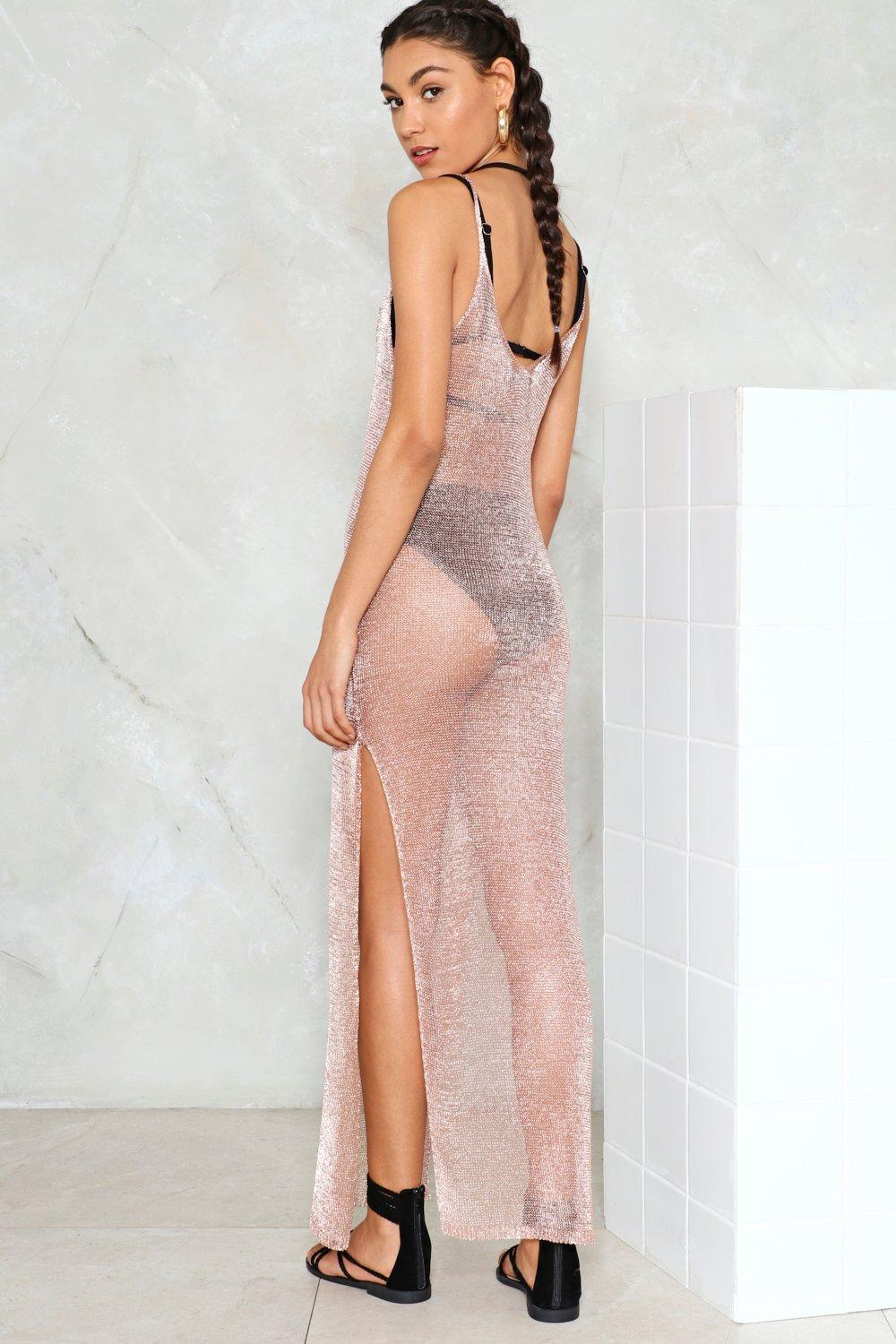 598c142624260 Womens Rose gold Metallic Yarn Maxi Beach Cover Up. Hover to zoom
