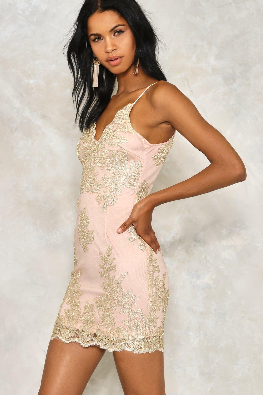 Hot To Trot Metallic Lace Dress