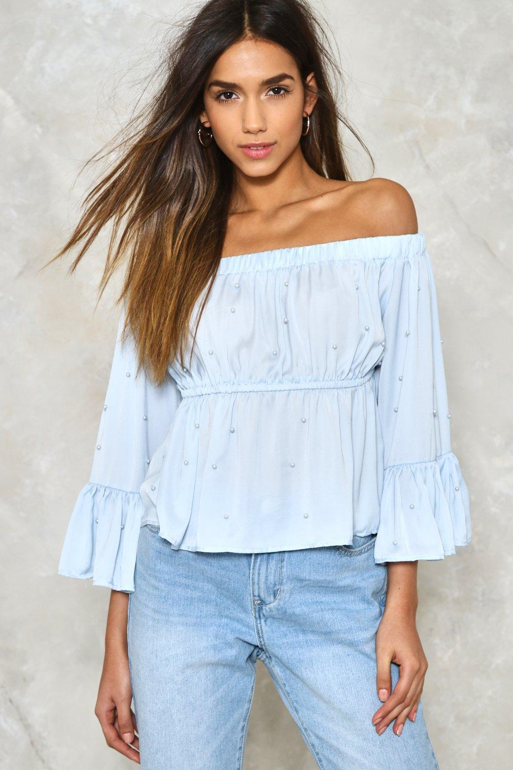 dd318903f6d87d My Kind of Pearl Off-the-Shoulder Blouse