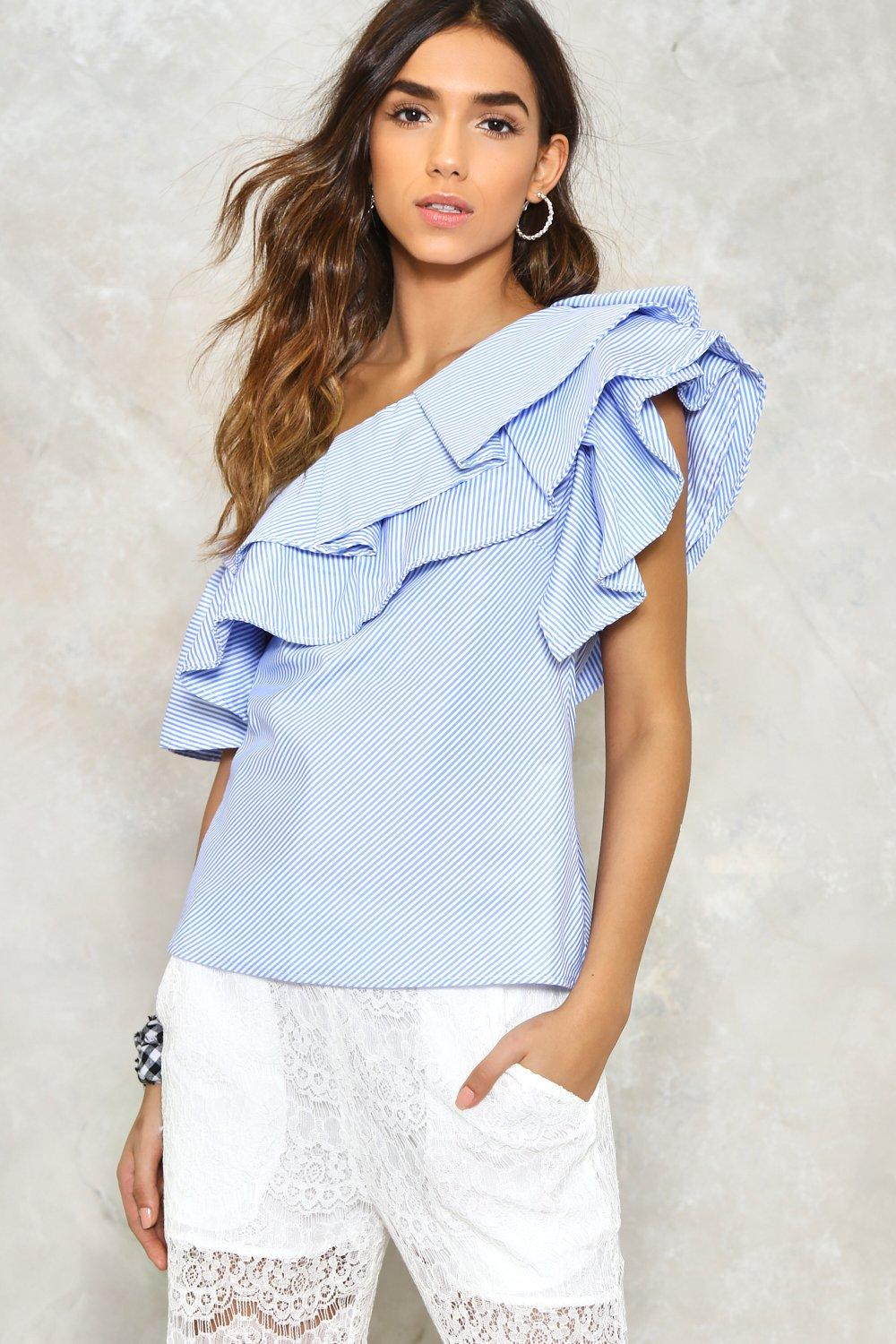 6f9171ac56273d Ruffle Time One Shoulder Top   Shop Clothes at Nasty Gal!