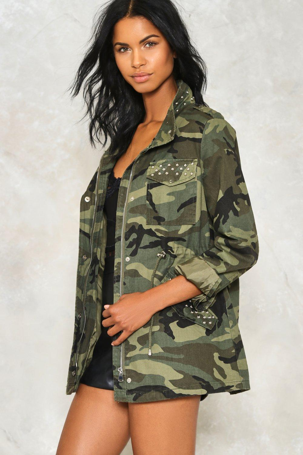 d9f9fce099d At Ease Studded Camo Jacket. Hover to zoom