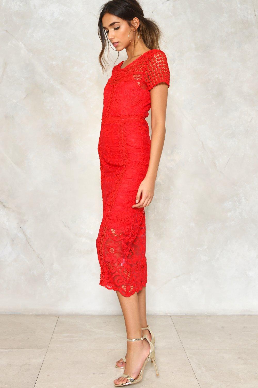 40a2bcce9a Womens Red Vienna Crochet Dress