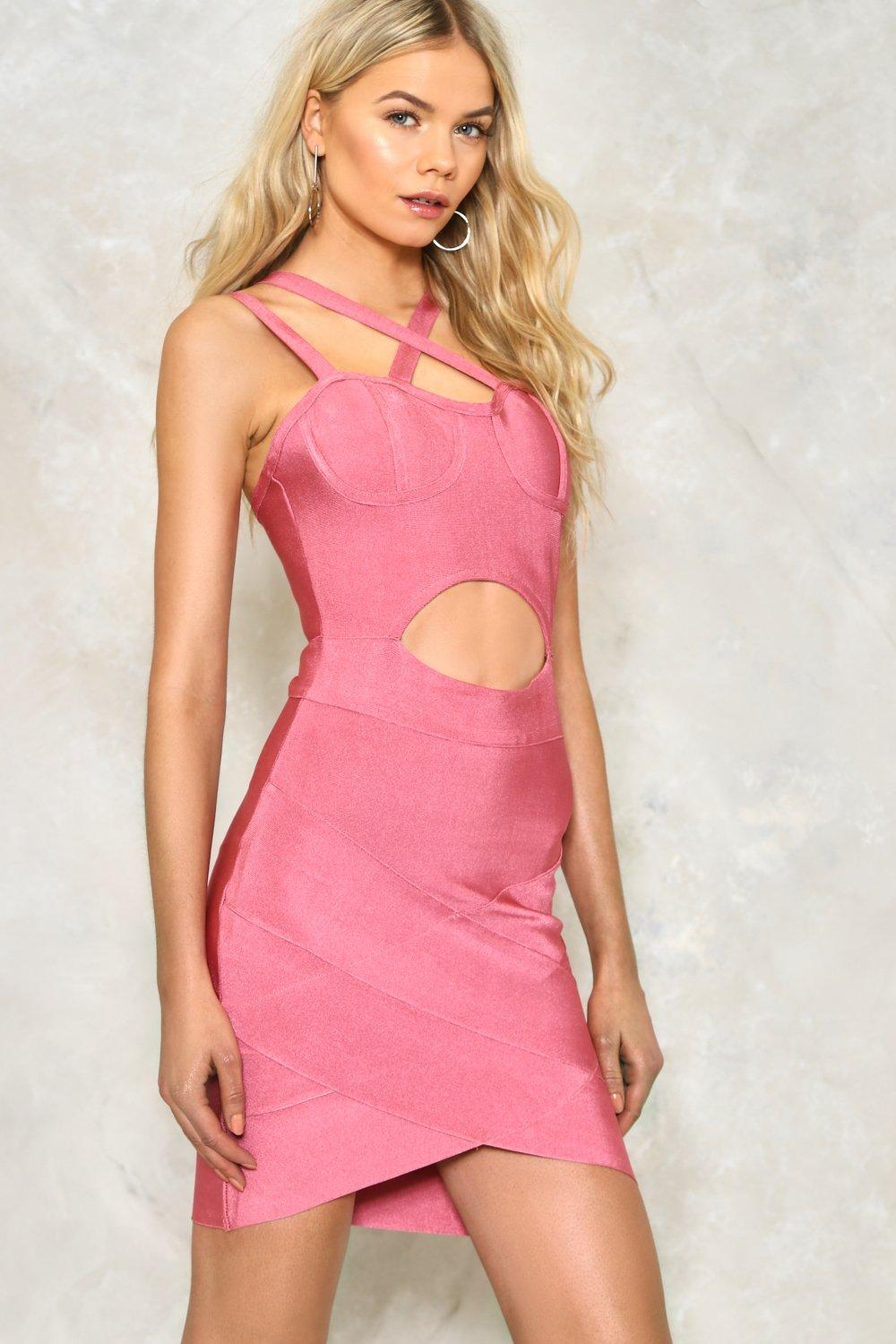 b388bda821b Womens Pink Cut-Out Above the Rest Bandage Dress