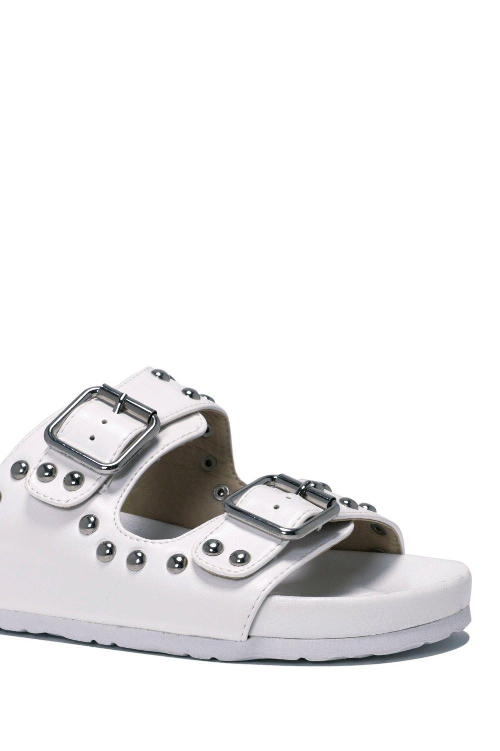 37c401256541 Womens White Buckle Up Faux Leather Slide Sandal.