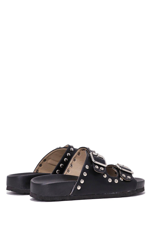 403aa164d87d Womens Black Buckle Up Faux Leather Slide Sandal