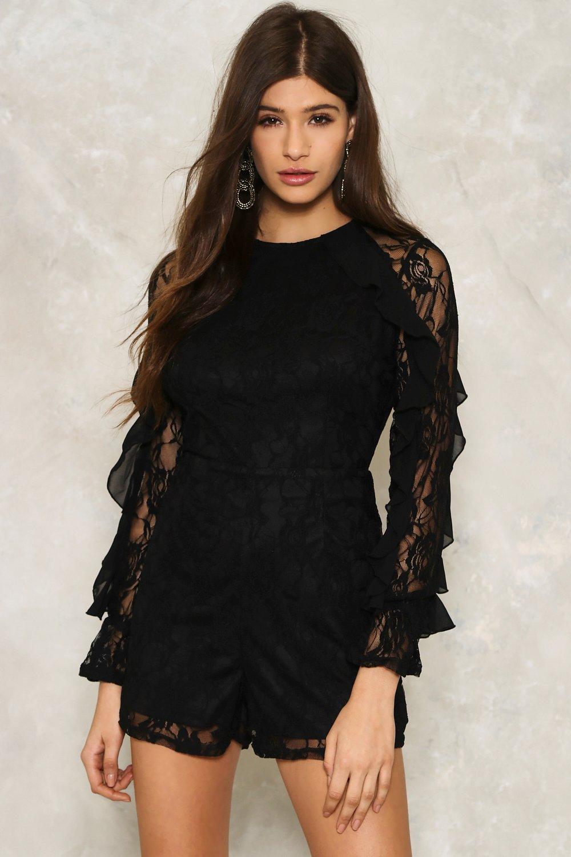 44e599fef8c Womens Black Tess Lace Romper