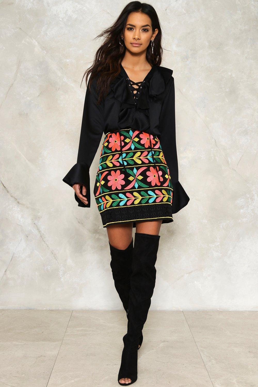 ea0240e65aad Mena Embroidered Mini Skirt   Shop Clothes at Nasty Gal!