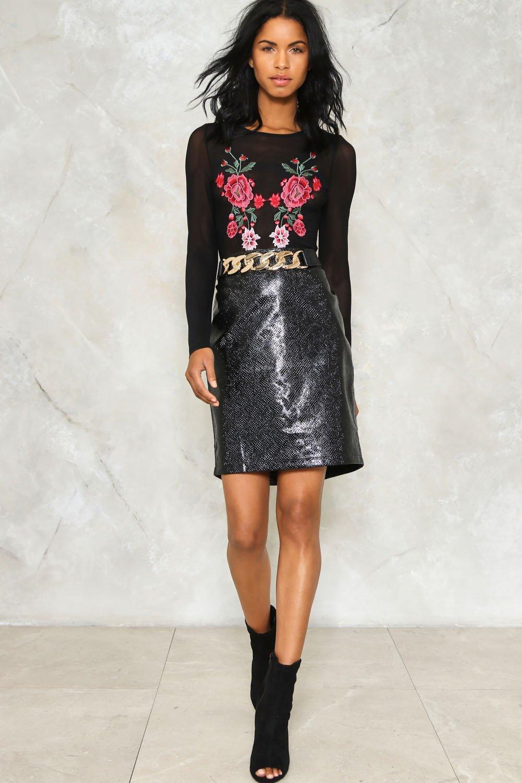 dbb42c55d96e Croc Out Faux Leather Skirt