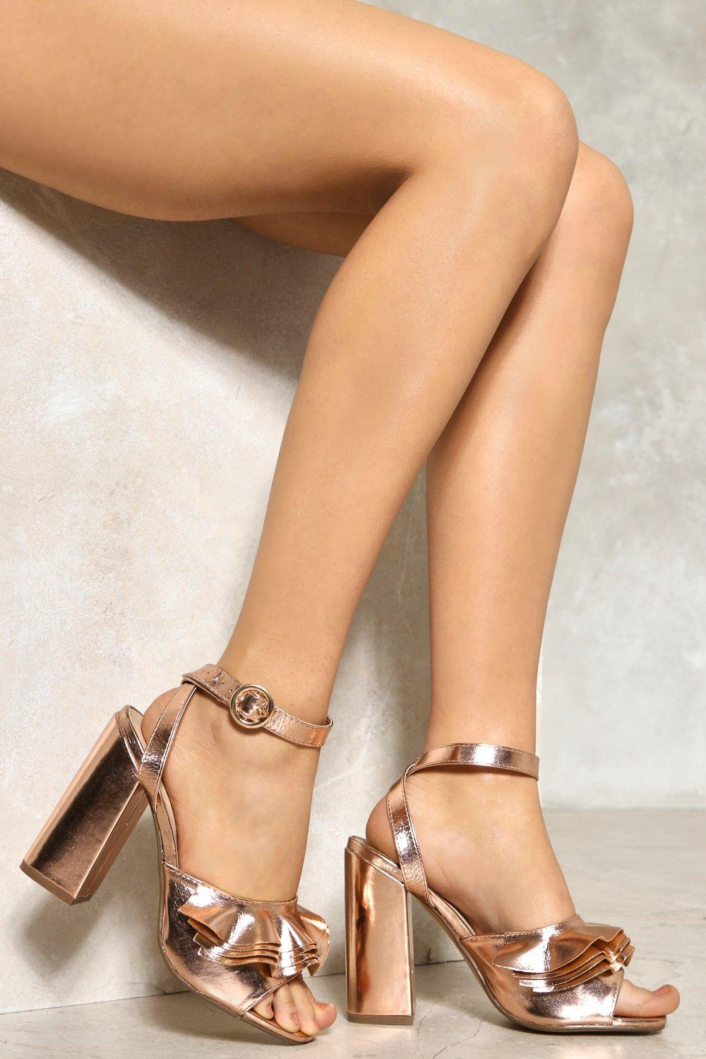 4a54c2513 Click to expand · Womens Gold Frills and Chills Metallic Heel. Hover to zoom