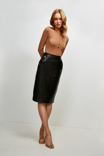 Black Leather And Ponte Back Button Pencil Skirt