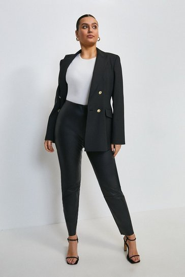 Black Curve Stretch Leather Legging