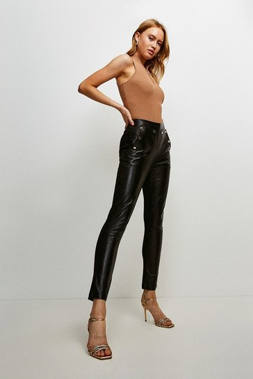Black Leather And Ponte Back Button Legging