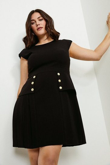 Black Curve Epaulette Military Button Pleated Dress