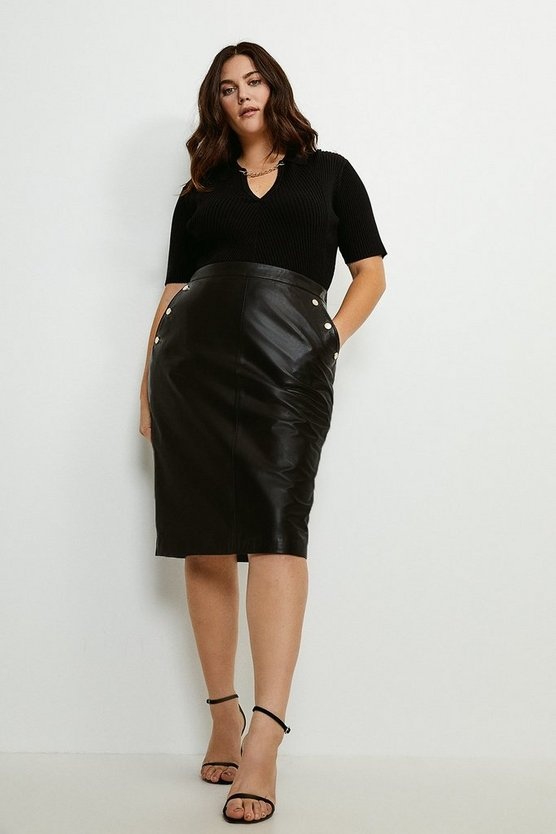 Black Curve Leather And Ponte Back Pencil Skirt